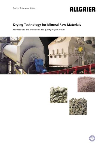 Drying Technology for Mineral Raw Materials