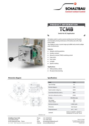 Battery switches for DC, TCMB series