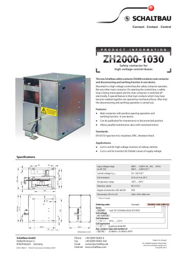 safety contactor for high-voltage control boxes ZH2000