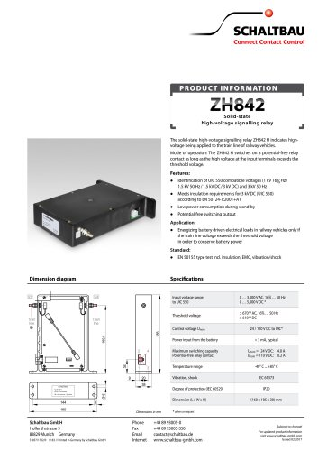 solid-state high-voltage signalling relay ZH842 H