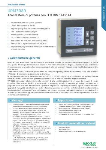 UPM3080 - Analizzatore di potenza con LCD DIN 144x144