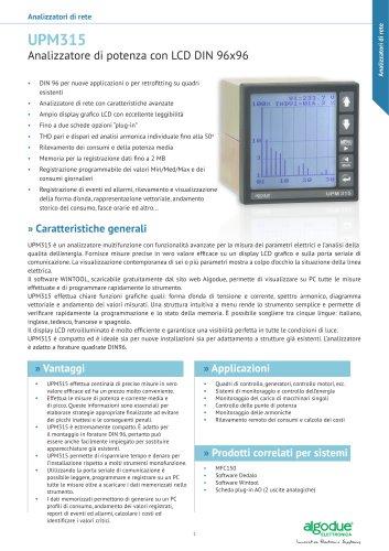 UPM315 - Analizzatore di potenza con LCD DIN 96x96