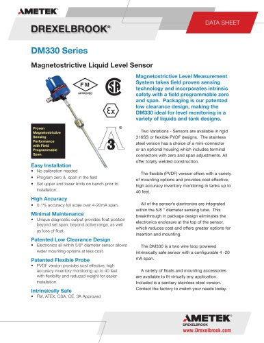 DM330 Series Magnetostrictive Level