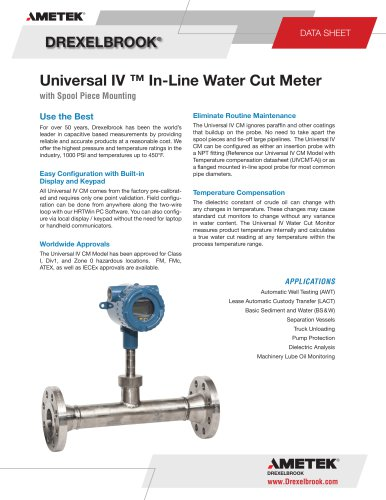 Universal IV ™ In-Line Water Cut Meter with Spool Piece Mounting