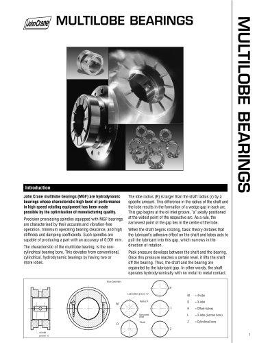 Multilobe Bearings High Performance Hydrodynamic Bearings