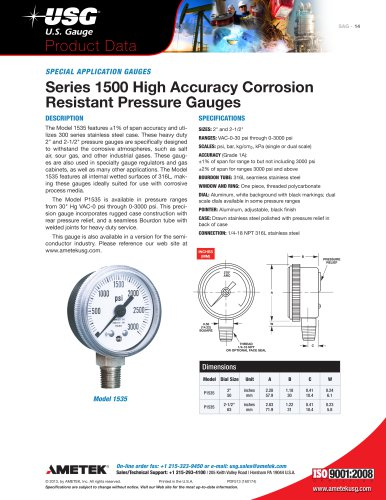 Series 1500 High Accuracy Corrosion Resistant Pressure Gauges