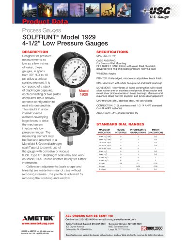"SOLFRUNT® Model 1929 4-1/2"" Low Pressure Gauges"