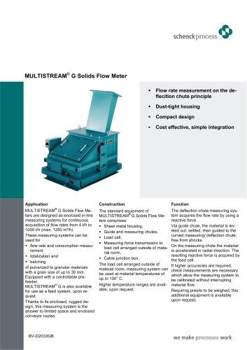 MULTISTREAM® G Solids Flow Meter