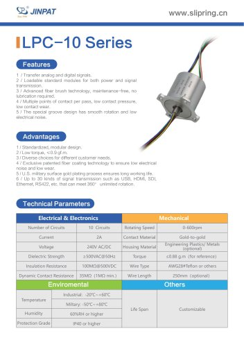 LPC-10 Series Capsule Slip Ring
