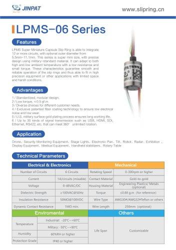 LPMS-06 Series Super Minature Slip Ring