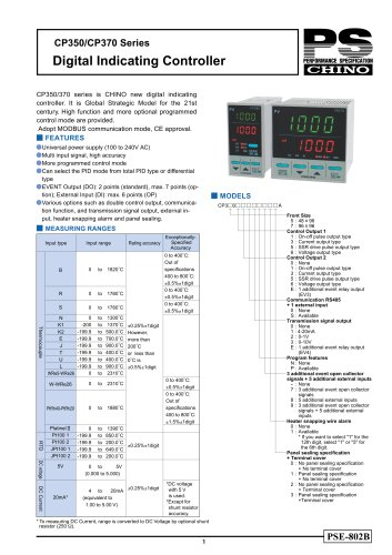 Digital Indicating Controller CP350/CPA370