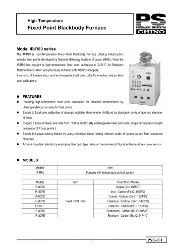 Fixed Point Blackbody Furnace IR-R80