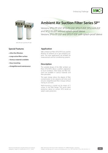Ambient Air Suction Filter Series SP®