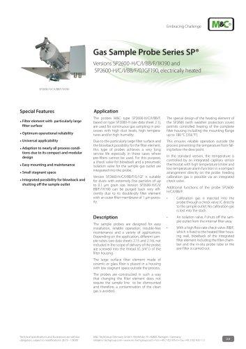 Gas Sample Probe Series SP® - Version SP2600-H/C/I/BB/F