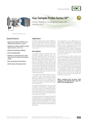 Gas Sample Probe Series SP® - Version SP3000/Ex
