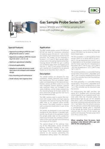 Gas Sample Probe Series SP® - Version SP3100/EX