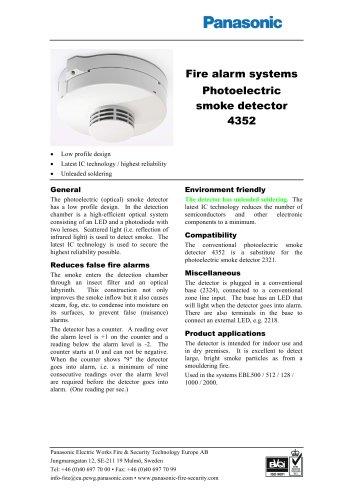 Photoelectric smoke detector 4352