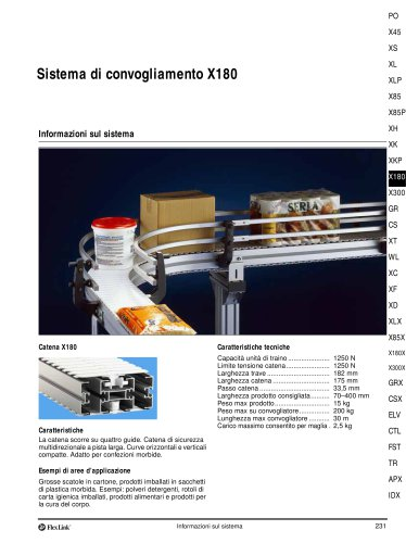 Sistema di convogliamento X180