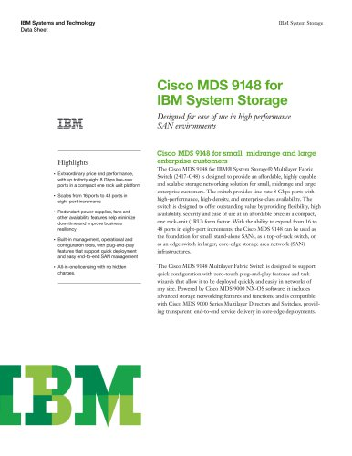 Cisco MDS 9148 for IBM System Storage
