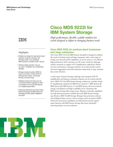 Cisco MDS 9222i for IBM System Storage