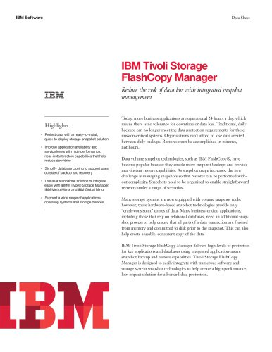 IBM Tivoli Storage FlashCopy Manager