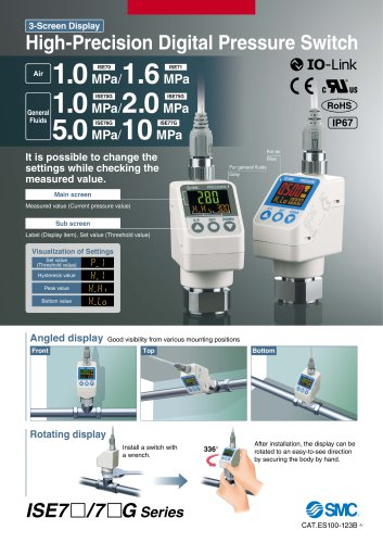 ISE70, Digital Pressure Sensor, 3 Sreen IP67 with IO Link