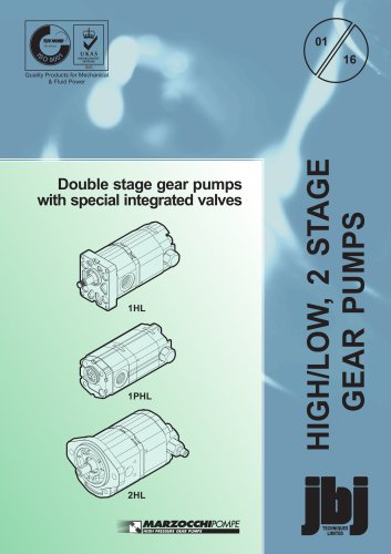 Double stage gear pumps with special integrated valves