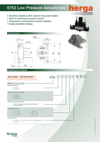 6753 Low Pressure Air Switch