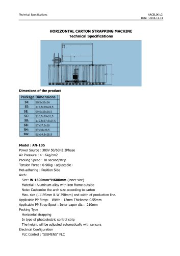 Technical specs-Horizontal Strapping Machine