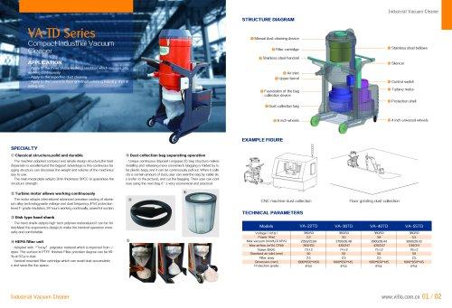 VA-TD compact industrial vacuum cleaner for concrete floor grinding industry