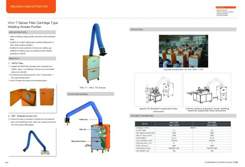 VILLO / Filter cartridge type welding fume extractor / arc welding, grinding, cutting / VHJ-T
