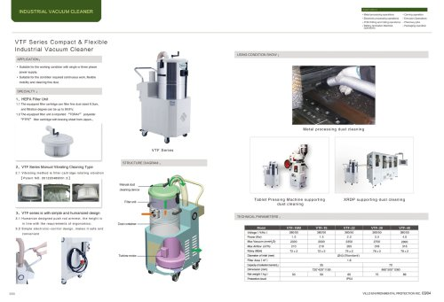 VILLO / portable industrial vacuum cleaner / metal processing, XRDP supporting, table pressing / VTF