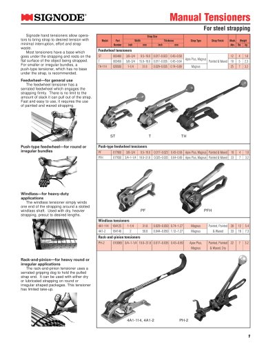 Manual tensioner: ST, T, TH, PF, PFH
