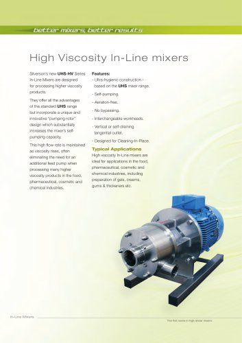 High Viscosity In-Line Mixers