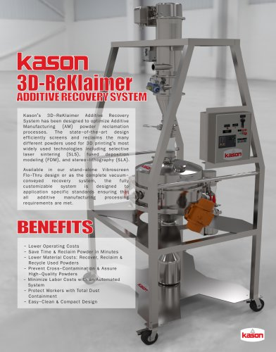 3D REKLAIMER ADDITIVE POWDER RECOVERY SYSTEM