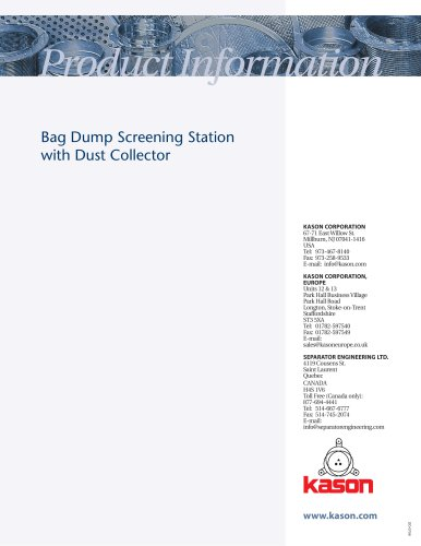 Bag Dump Screening Station with Dust Collector