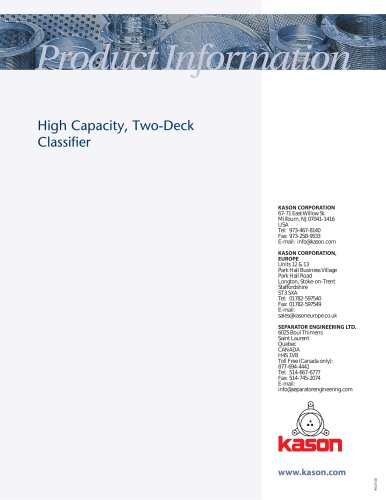 High Capacity, Two-Deck Classifier