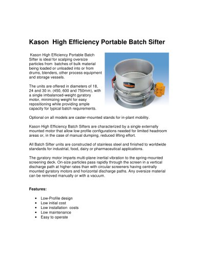 Kason High Efficiency Portable Batch Sifter