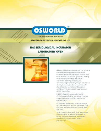 BACTERIOLOGICAL INCUBATOR LABORATORY OVEN