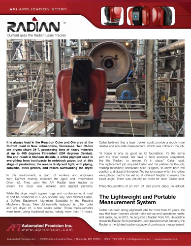 Laser based measurements in Titanium dioxide production (DuPont)