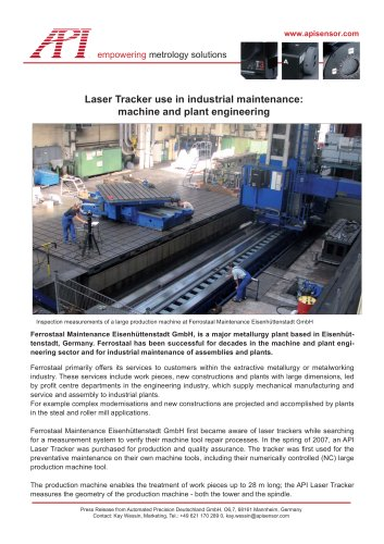 Laser Tracker use in industrial maintenance and machine and plant engineering (Ferrostaal, Eisenhuettenstadt, Germany)