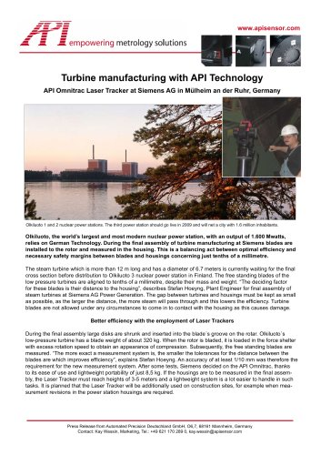 Turbine manufacturing at Siemens with API Laser Tracker Systems