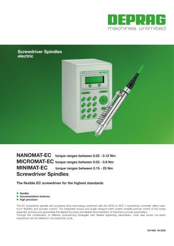 NANOMAT-EC / MICROMAT-EC / MINIMAT-EC Screwdriver spindle