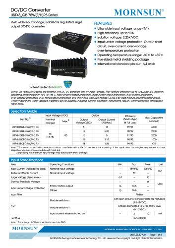 18-75V Ultra-wide Input Voltage URF48_QB-75WR3 Series
