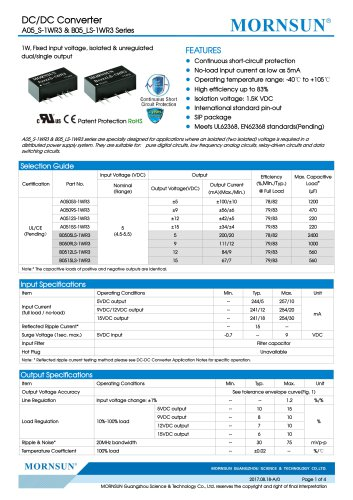 A05_S-1WR3 & B05_LS-1WR3 Series--1W, Fixed input voltage, isolated & unregulated dual/single output