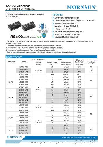 B_LS-1WR2 / 1watt DC-DC converter / Single output