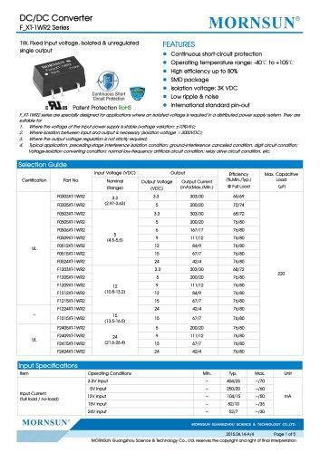F_XT-1WR2 / 1watt DC-DC converter / single output