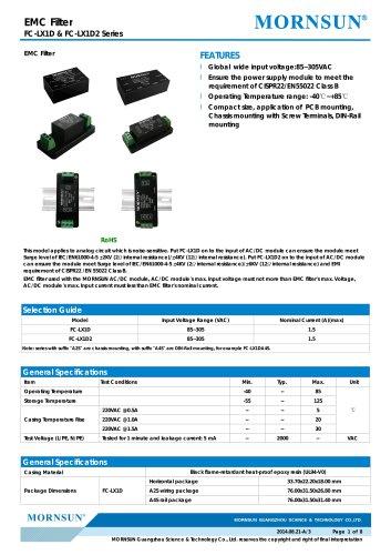 FC-LX1D2 / EMC filter / ±4/±6 KV Surge Voltage / for ac/dc