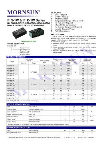 IF_S-1W / 1watt DC-DC converter / Regulated / Single output