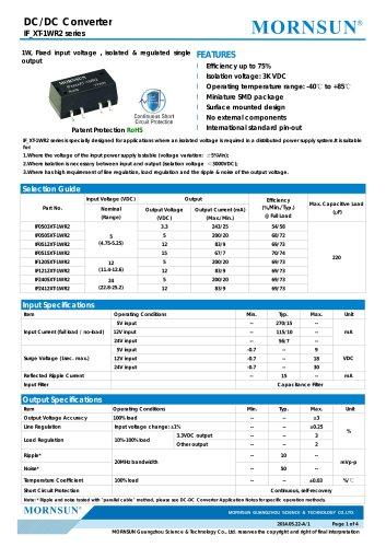 IF_XT-1WR2 / 1watt DC-DC converter / single output /  regulated